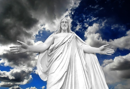 invitando: Estatua de Jesucristo con las manos extendidas