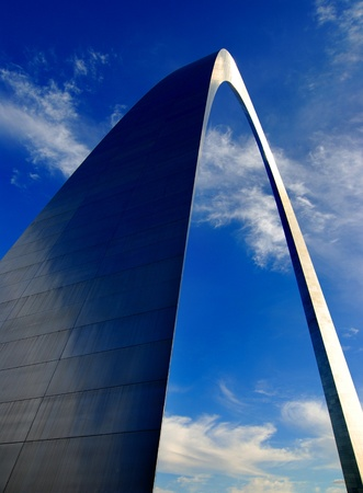 midwest usa: St. Louis Arch in Missouri with clouds and sky in background