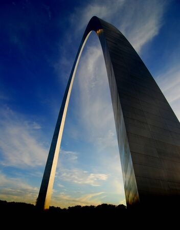 St. Louis Arch at sunset with sky and clouds in background