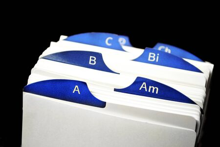 listings: Index cards organized in a row by letter of the alphabet