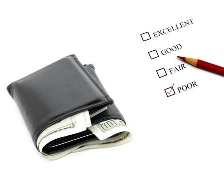 Rating system of savings of money with wallet and cash photo