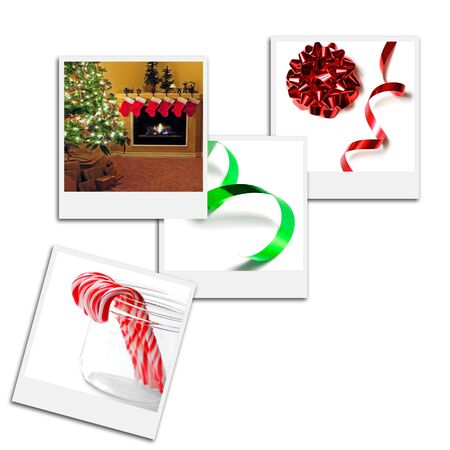 Several instant film frames on an isolated white background with Christmas scenes
