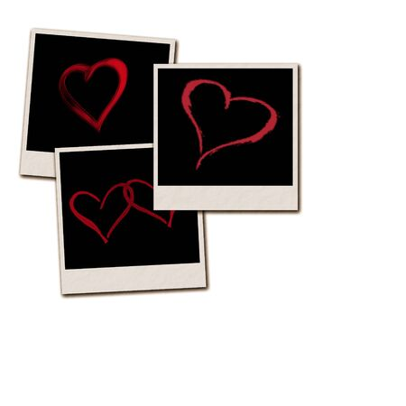 Several instant film frames on an isolated white background with Valentine scenes Reklamní fotografie