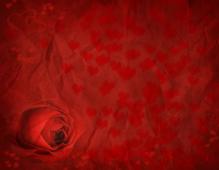 heart shaped: Rose and hearts for Valentines day on textured background