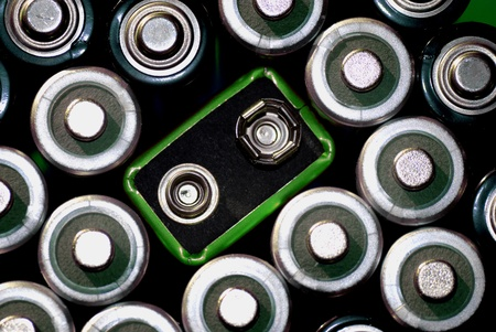Many batteries grouped together illustrating power and environment photo