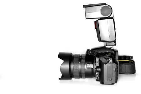camera flash: Digital slr camera with lens and flash isolation on white background