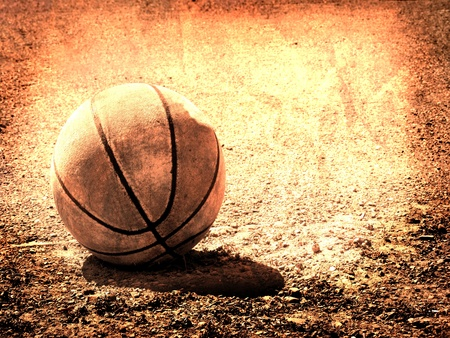 Closeup of texture on old worn leather basketball  photo