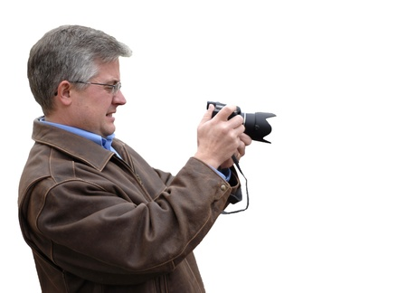 Man photographer with jacket photographing with camera