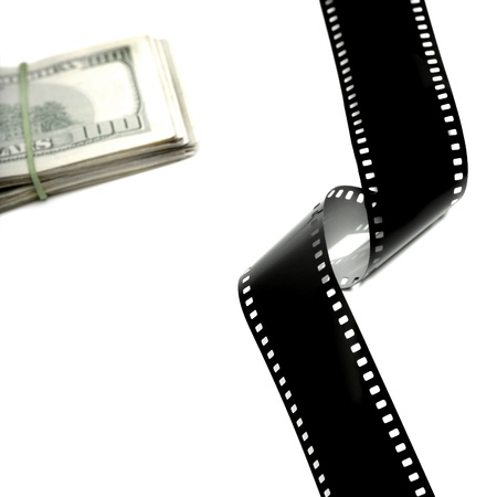 35mm film strip isolated on white background with cash money photo