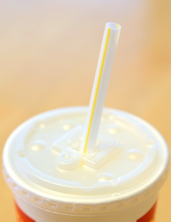 Fastfood soft drink soda beverage with straw photo