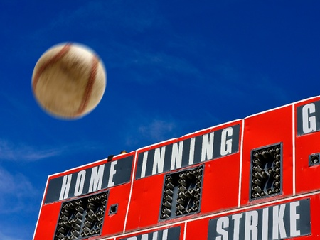 Baseball scorboard with bat ball and strike zones and homerun 写真素材