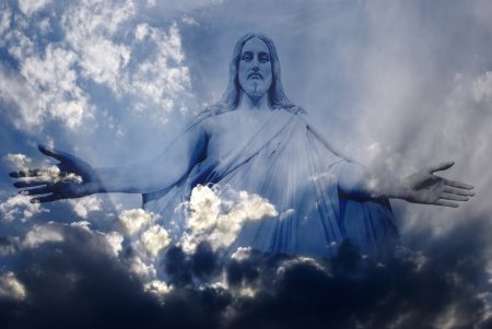 god's love: Jesus standing in white and gray storm clouds in blue sky with rays of light