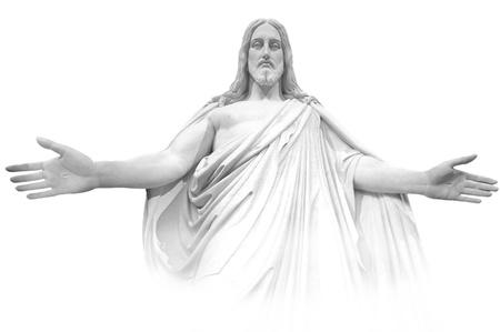 mano de dios: Jesús que estaba en las nubes de tormenta blancas y grises en el cielo azul con rayos de luz Foto de archivo
