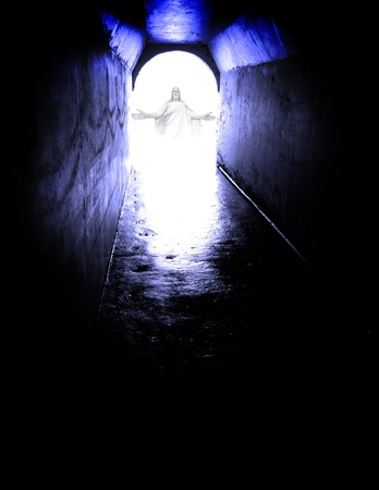jesus standing: Long tunnel walkway with white light and Jesus standing at the end