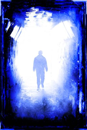 Long tunnel walkway with person at the end Stock Photo - 15094013