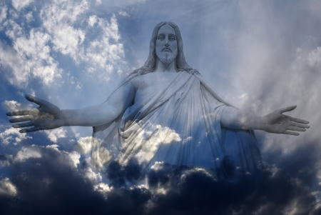 jesus hands: Jesus standing in white and gray storm clouds in blue sky with rays of light