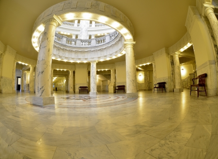 light columns: State capital building dome with lights and glass