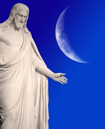 crescent moon: Statue of Jesus Christ with hands outstretched with crescent moon