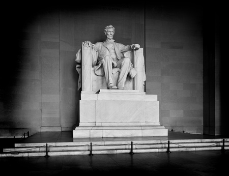 lincoln: Statue of Abraham Lincoln at the Lincoln Memorial in Washington DC