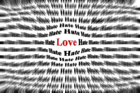emphasized: Closeup detail of black and white words with red word love ballooned to be bigger and emphasized