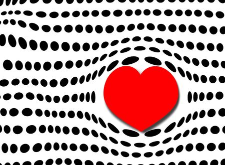 white polka dots: Rows of black polka dots with large red bubble heart for valentime and romance Stock Photo