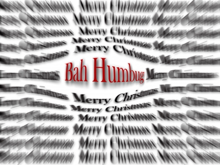 humbug: Merry Christmas and Bah Humbug black and white words with red word