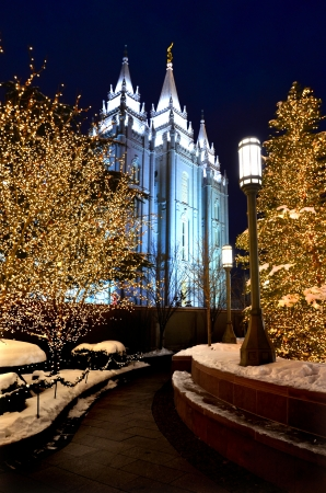 mormon temple: Salt Lake City Temple Square Christmas Lights
