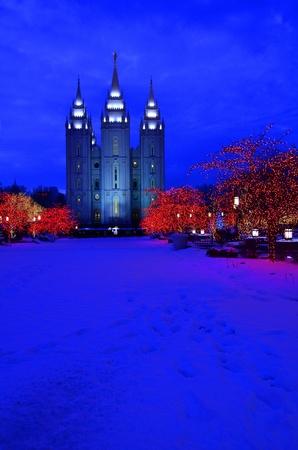 salt lake city: Salt Lake City Manzana del Templo Luces de Navidad Foto de archivo