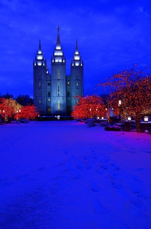 Salt Lake City Temple Square Christmas Lights  photo