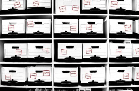 Office shelves full of boxes of tax documents Stock Photo - 17447454