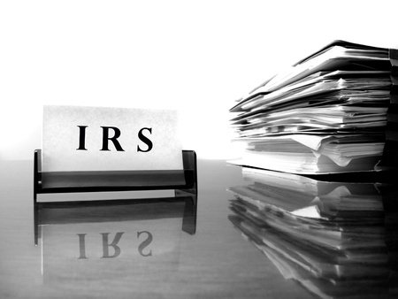 IRS Card on desck with tax files Stock Photo - 17531167