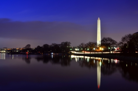 Washington Monument at dawn or dusk reflected in water photo