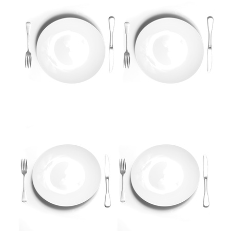 dinnerware: Knives and forks silverware with white plates on white background