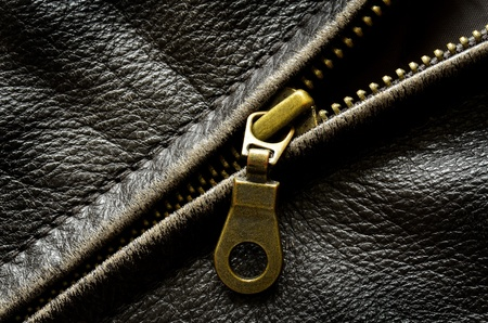 Deep textured leather jacket with brass zipper Stock Photo - 17914620