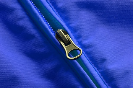 Closeup of zipper on coat with texture Stock Photo