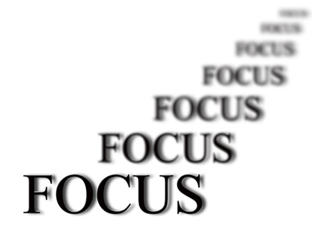 The word focus with blurred words in background isolated on white as concept for business ideas Stock Photo - 18025150
