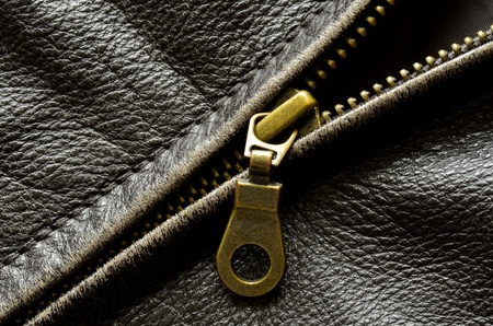 Deep textured leather jacket with brass zipper