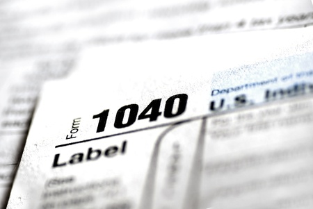 Detail closeup of current tax forms for IRS filing Stock Photo