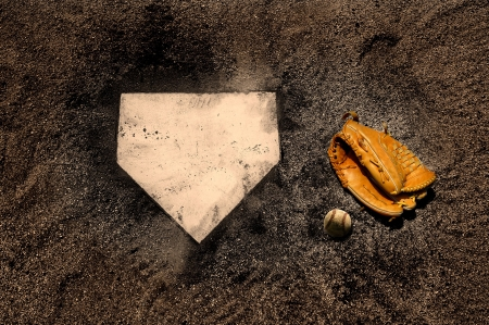 homeplate: Home plate on baseball field with copy space Stock Photo