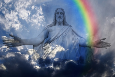 jesus clouds: Jesus standing in white and gray storm clouds in blue sky with rays of light