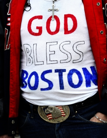 bombings: Decorated t-shirt on Boyston Street in Boston after bombings  Stock Photo