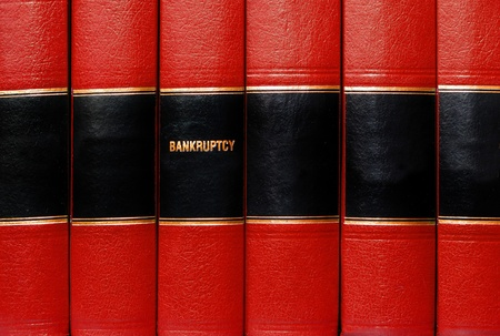 statutes: Close up of several volumes of books on bankruptcy Stock Photo