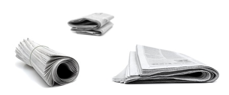 Several newspapers isolated on white background Banque d'images