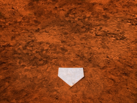 plate: Home plate on baseball field with copy space Stock Photo