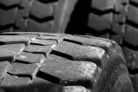 Heavey Equipment Tires with worn tread photo