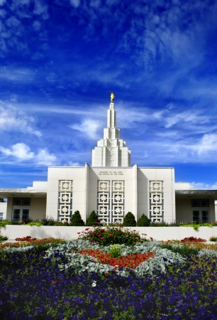 blessings: Mormon Temple with blue sky and clouds in background