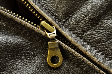 Deep textured leather jacket with brass zipper Stock Photo - 21025748