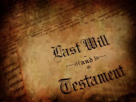 Envelope with Last Will and Testament Foto de archivo