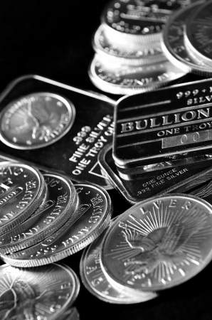 Pure silver coins and bars bullion Stock Photo - 21533066