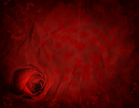 Rose and hearts for Valentines day on textured background